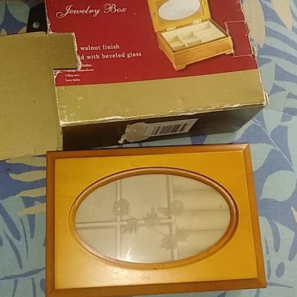 Vintage walnut jewelry box NIB